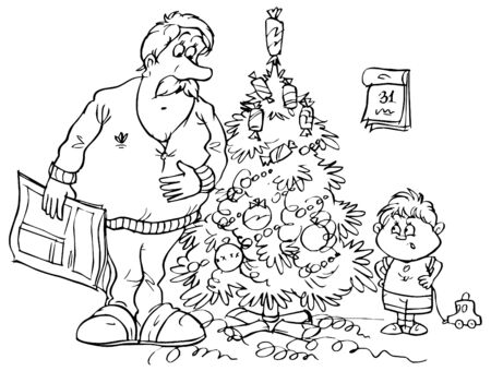 Dad and son standing near Christmas tree photo