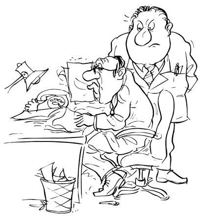 apprehensive: Boss and apprehensive clerk Stock Photo