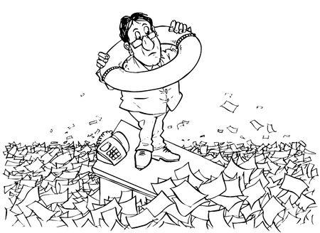 documents circulation: In sea of bureaucracy Stock Photo