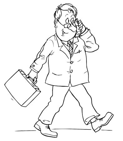 cellular telephone: Clerk talking on cellular telephone