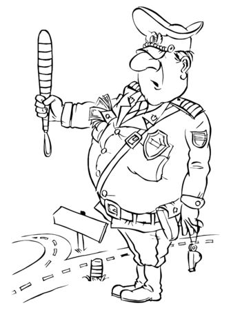 traffic policeman handing a baton Stock Photo - 5800112