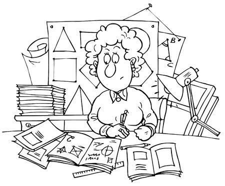herrin: Geometrie-Lehrer Lizenzfreie Bilder