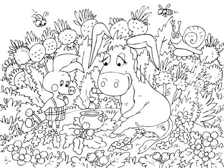 Piglet and Donkey sitting on the lawn photo