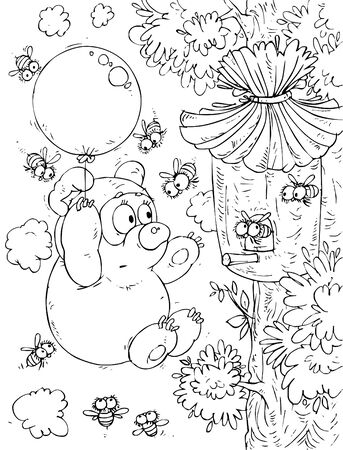 Bear-cub flying the balloon around a beehive photo