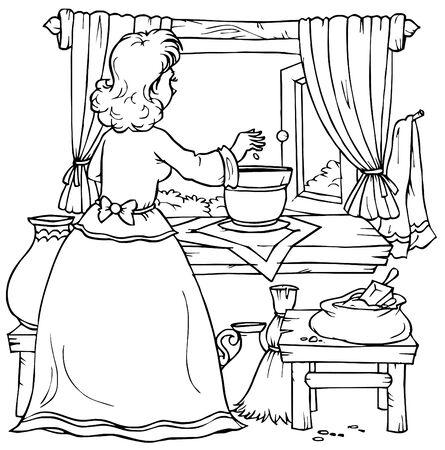Woman plants a corn (fairy-tale �Thumbelina�) photo