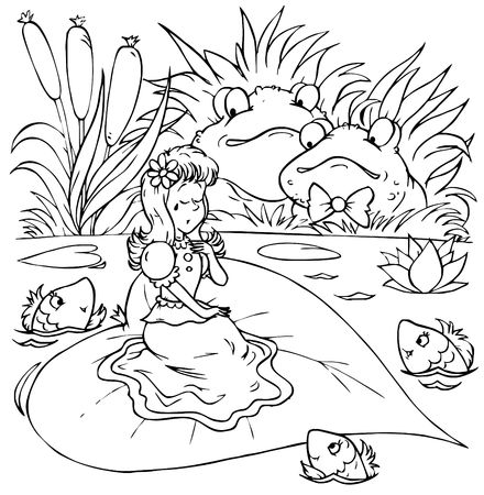 "bog: Toads and little girl in tears (fairy-tale ""Thumbelina"") Stock Photo"