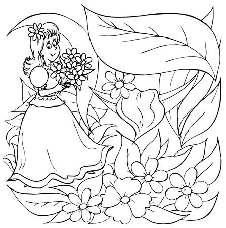 "fairyland: Little girl with flowers (fairy-tale ""Thumbelina"")"