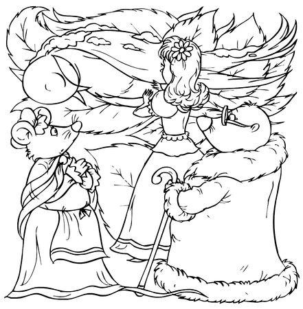 Little girl, mouse and mole near swallow (fairy-tale �Thumbelina�) photo