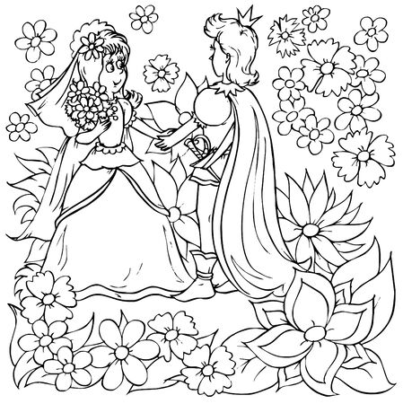 """Little girl and little prince (fairy-tale """"Thumbelina"""")"""