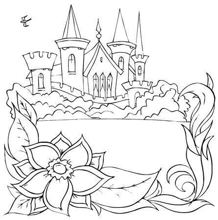 "fairyland: Swallow flies over a castle (fairy-tale ""Thumbelina"")"