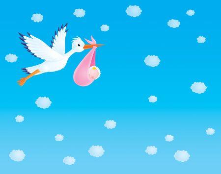 Background Stork with newborn photo