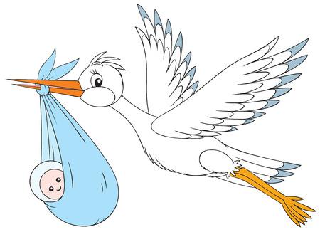 bird clipart: Cicogna bianca offre un neonato ai suoi genitori Vettoriali