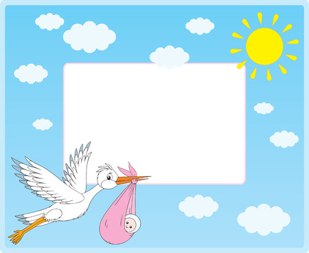 stork flying with bundle: Vector border with stork and newborn Illustration