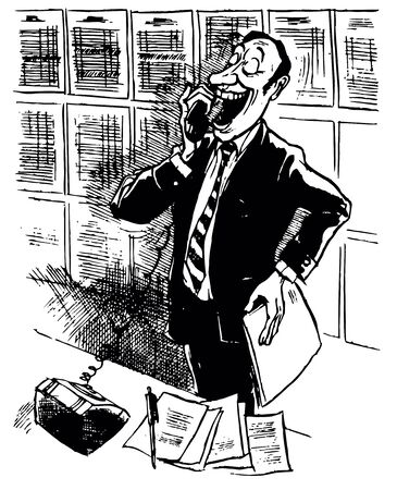 clerical: Man talking on the telephone