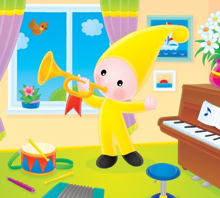 Small gnome blows the trumpet