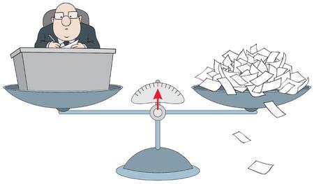bookkeeper: Bur�crata en las escalas con la pila de papel Vectores