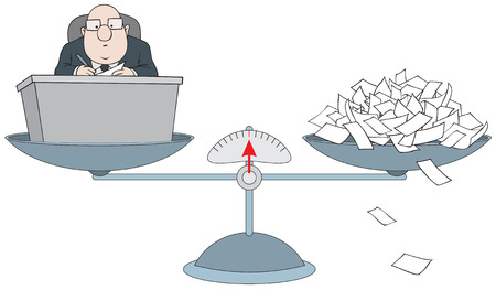 Bureaucrat on the scales with the pile of paper Illustration