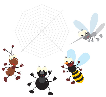 Ant, bee, spider and mosquito Vector