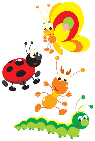 Butterfly, termite, ladybug and caterpillar