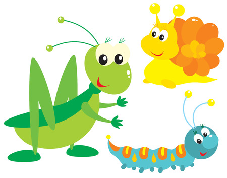 Grasshopper, snail and caterpillar