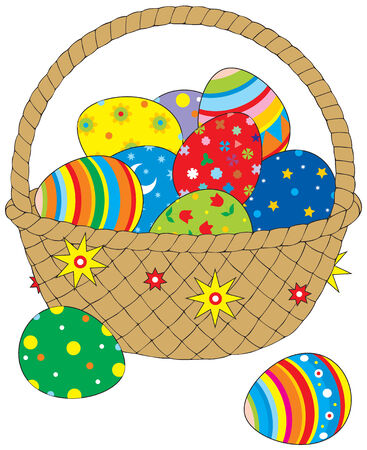 pasch: Easter eggs in basket