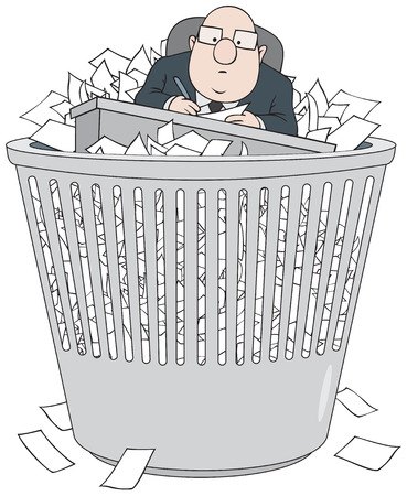 instruct: Bureaucrat in wastepaper basket