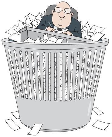 wastepaper basket: Burocrate nel cestino della carta straccia