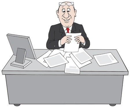 functionary: Clerk at paperwork Illustration
