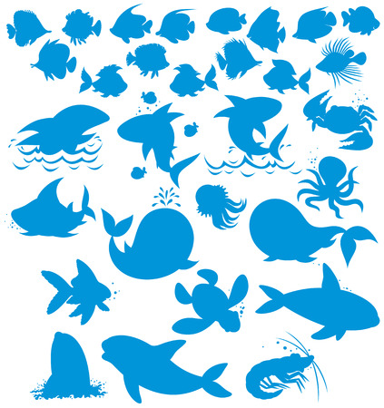 Silhouettes of sea animals