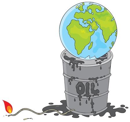 globe terrestre dessin: Terre sur un baril de p�trole avec un fusible de flammes