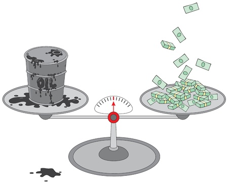 oil barrel: Oil barrel and money on scales Illustration