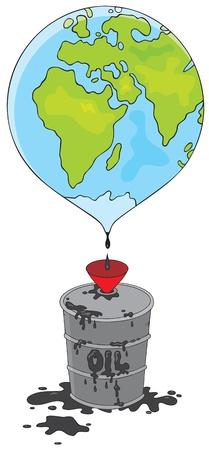 globe terrestre dessin: P�trole coule de la terre dans un tonneau Illustration