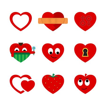 opened eye: set of hearts