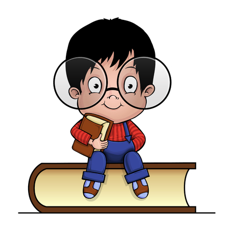 Clever boy with a book. Cartoon. Illustration
