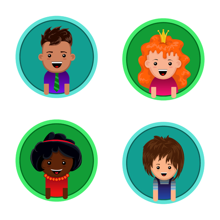 crimson: Girls and boys of European and African appearance in vector version in flat style. Suitable for icons and avatars in social networks. Illustration