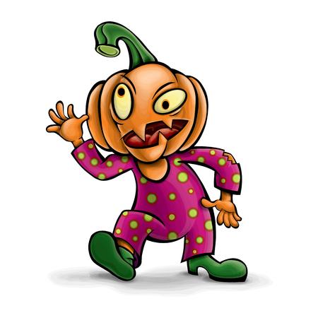 El personaje del vector es una calabaza loca. Para las vacaciones de Halloween. Foto de archivo - 88693632