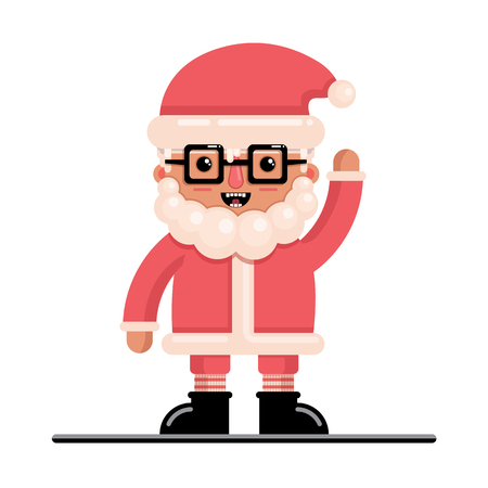 Santa Claus in the style of a flat for the New Year. Vector character.
