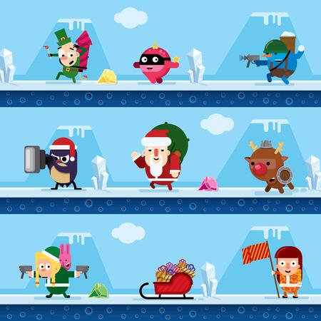 Elf, christmas ball, snowman, penguin, Santa Claus, deer, Snow Maiden, sleigh with gifts Illustration