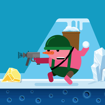 A snowman shoots a gun and throws snowballs. Vector cartoon character in a flat style. For printed products and the Internet.
