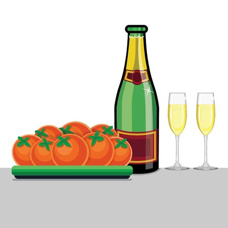 Still life of tangerines and champagne in a flat style illustration.