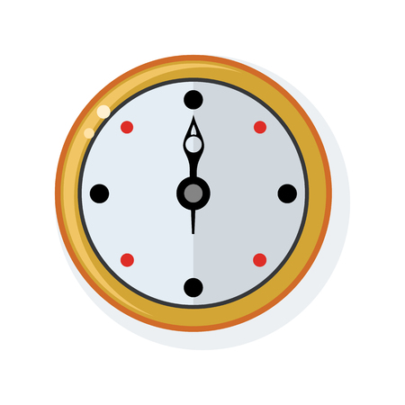Clock on the wall in flat style illustration.
