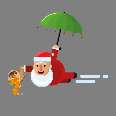 Santa Claus flying with an umbrella and pouring gifts from the cornucopia.