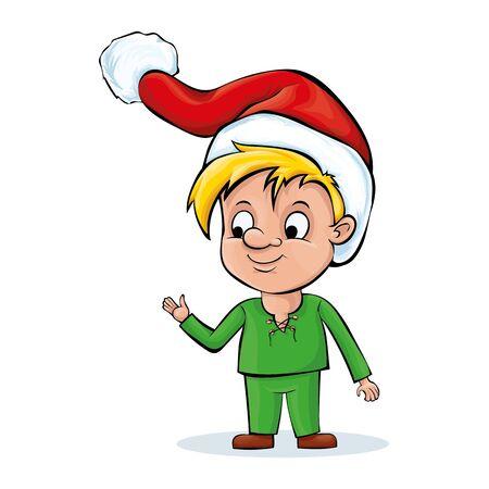 A cartoon character. The boy is wearing Santas hat. Illustration