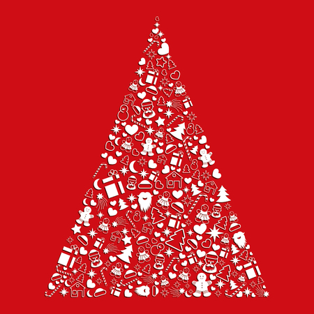 Decorative Christmas tree from a set of vector icons on a red background.