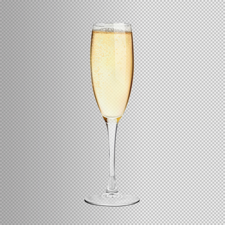 A glass of champagne on an isolated background. Illustration