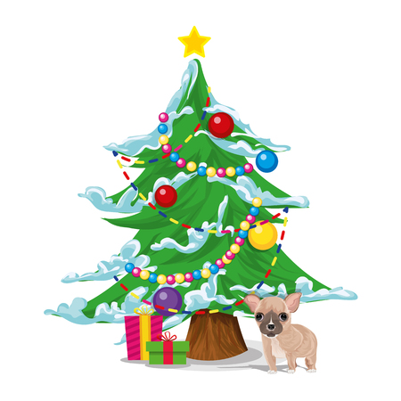 New Years tree with gifts and a dog, a symbol of the new year 2018. Vector. Illustration
