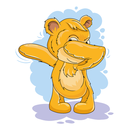 Vector cartoon character. Bear with a victorious gesture.