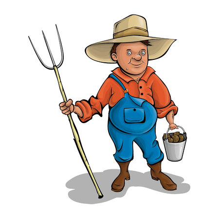 Farmer with pitchforks. A cartoon character. Vector illustration. Agriculture.