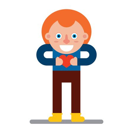 Character in a flat style. The red kid is holding his heart. Vector illustration. Romantic vector illustration. Illustration