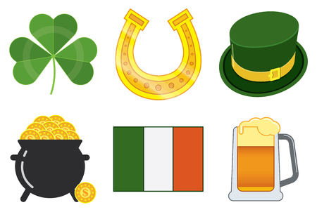 Vector isolated icons in a style flat to St. Patrick's Day. Six objects. A clover, a hat, a horseshoe, a pot of gold, a flag, a glass of beer.
